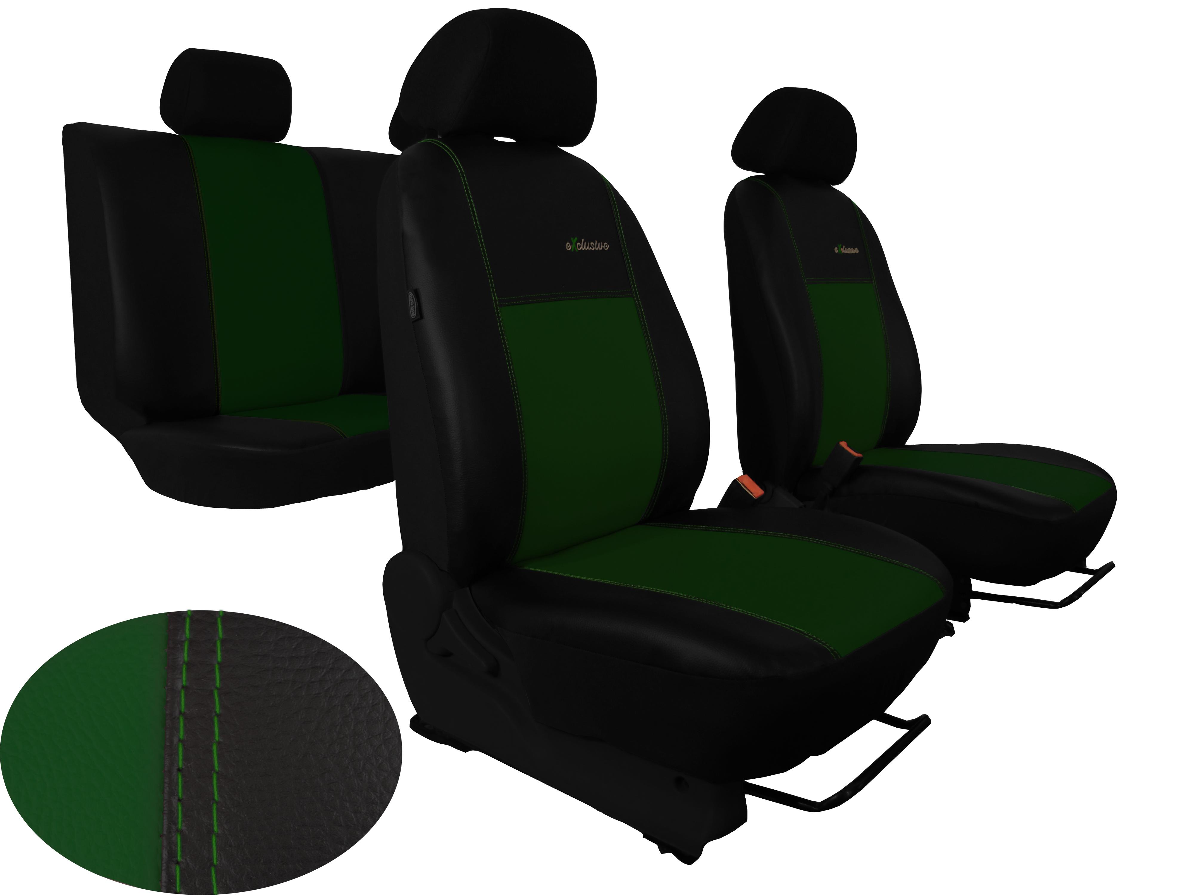 Automega Autopotahy Škoda Octavia III, kožené EXCLUSIVE, bez zadní loketní opěrky, zelené
