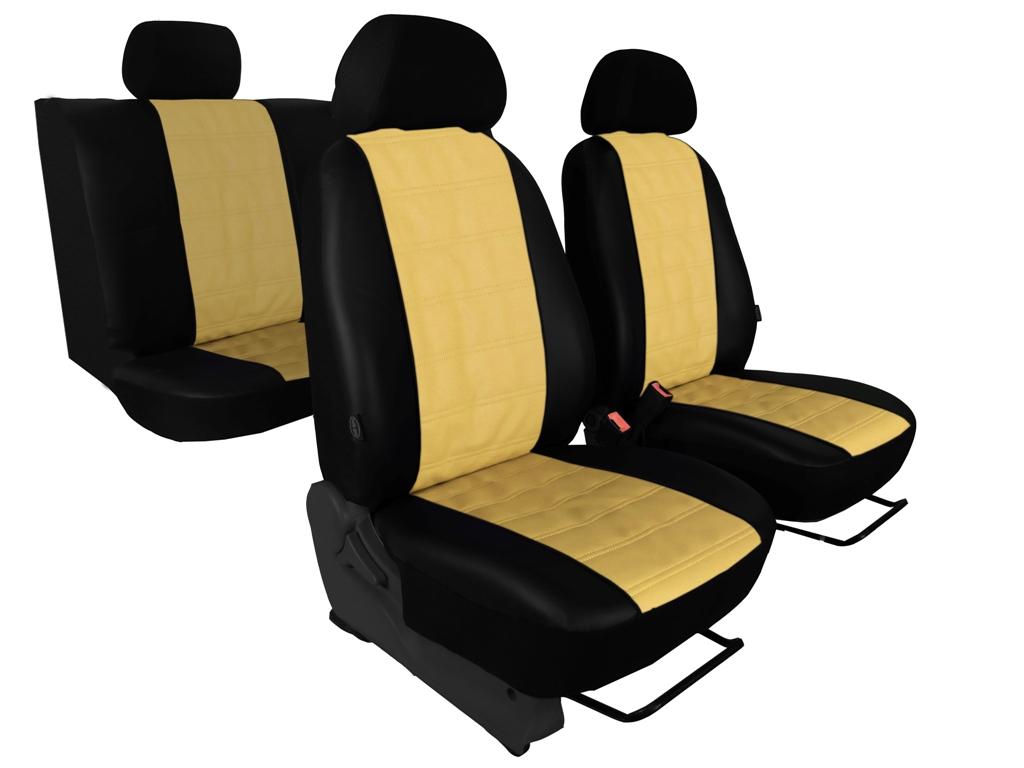 Automega Autopotahy EMBOSSY kožené, pruhovaný plastický vzor, béžové
