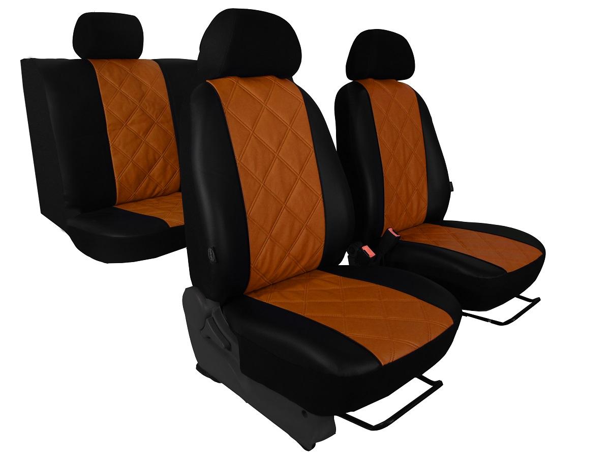 Automega Autopotahy Škoda Fabia II, kožené EMBOSSY, dělené zadní sedadla, hnědé