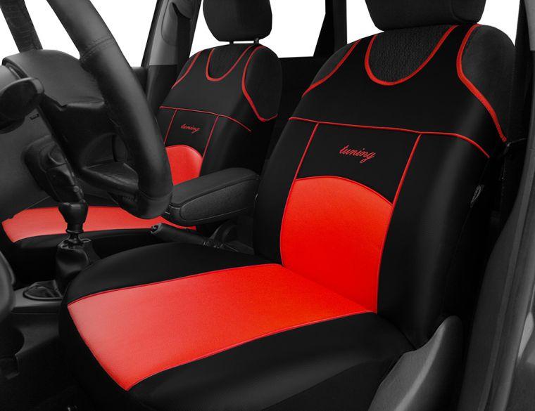 Automega Autopotahy Autopotahy TUNING EXTREME KOŽENÉ, sada pro dvě sedadla, červené