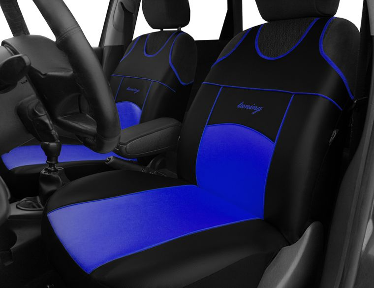Automega Autopotahy Autopotahy TUNING EXTREME KOŽENÉ, sada pro dvě sedadla, modré