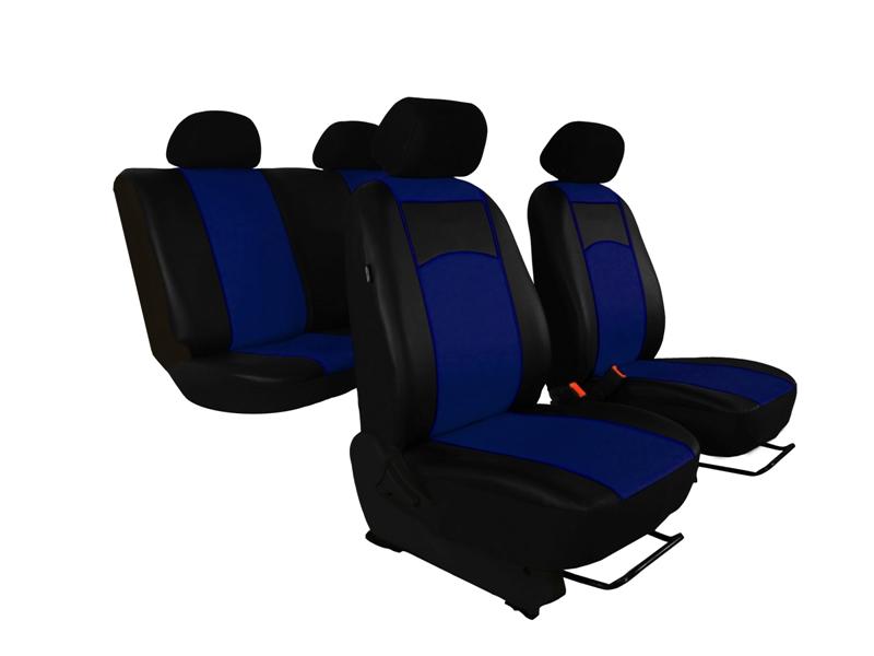 Automega Autopotahy Škoda Fabia II, kožené Tuning černomodré, dělené zadní sedadla