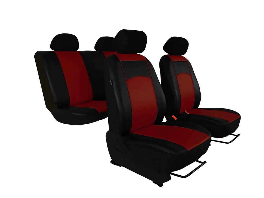 Automega Autopotahy Škoda Fabia II, kožené Tuning černovínové, dělené zadní sedadla